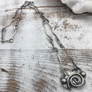 Oxidized Sterling Silver Abstract Necklace
